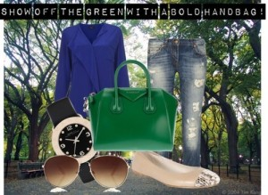 If bold pants aren't your style. Rock the look with a flashy green handbag.
