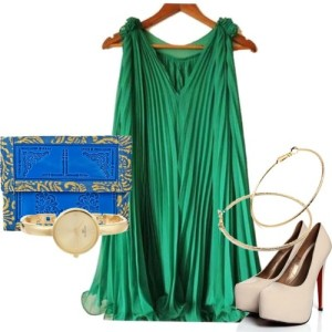 If your feeling extra bold, where the fab emerald green color on a night out. Pairing a striking green dress with a bright blue bag, and neutral pumps will definitely catch everyone's attention.